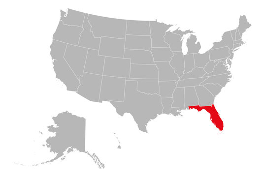 Florida highlighted red US map vector illustration. Gray background. United states political map.