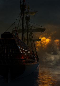 Spanish Galleon In The Night