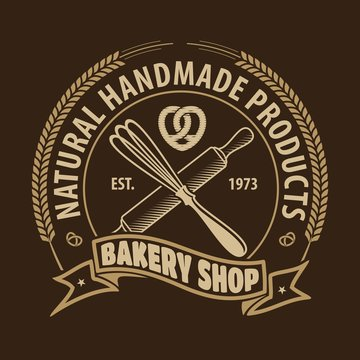 Bakery or bread shop logo design template with Whisk and Rolling pin. Vector illustration