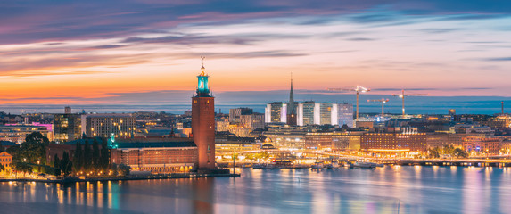 Stockholm, Sweden. Night Skyline With Famous Landmarks. Panorama, Panoramic View Of Stockholm Cityscape. Famous Landmarks, UNESCO World Heritage Site