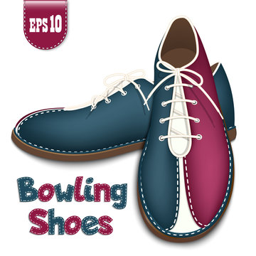 Bowling shoes - icon. A pair of athletic bowling shoes. Top view and side view. Isolated on a white background. Vector illustration.