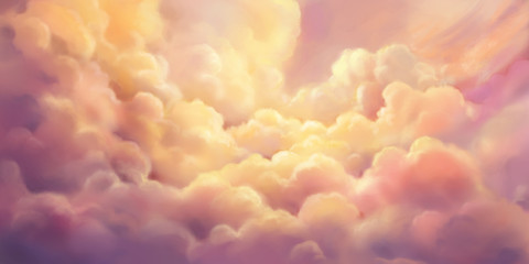 The Cloud Sea. Natural Sky Backdrop. Concept Art. Realistic Illustration. Video Game Digital CG Artwork Background. Nature Scenery.
