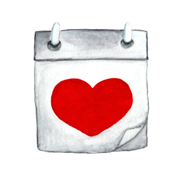 Calendar with a red heart. Watercolor illustration isolated on white background.