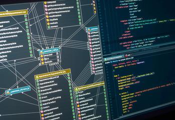 Back-end project architecture development. Database diagram, markup. Integrated Development Environment