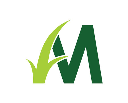 Letter M with Grass Logo Vector 001