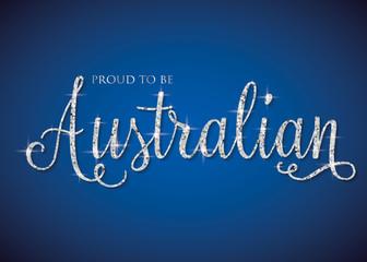Shiny iridescent glitter Australia text in vector format.