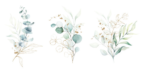 Watercolor floral illustration set - green & gold leaf branches collection, for wedding stationary, greetings, wallpapers, fashion, background. Eucalyptus, olive, green leaves, etc. Papier Peint