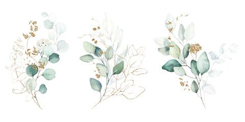 Watercolor floral illustration set - green & gold leaf branches collection, for wedding stationary, greetings, wallpapers, fashion, background. Eucalyptus, olive, green leaves, etc. Fototapete