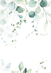 Watercolor floral illustration with green branches & leaves - frame / border, for wedding stationary, greetings, wallpapers, fashion, background. Eucalyptus, olive, green leaves, etc.