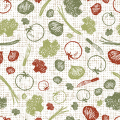 Vector white canvas baritalia colourful sketch illustration seamless pattern with vegetables. Perfect for fabric, wallpaper and grocery bag design.
