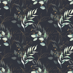Poster de jardin Artificiel Seamless watercolor floral pattern - green & gold leaves, branches composition on black background, perfect for wrappers, wallpapers, postcards, greeting cards, wedding invitations, romantic events.