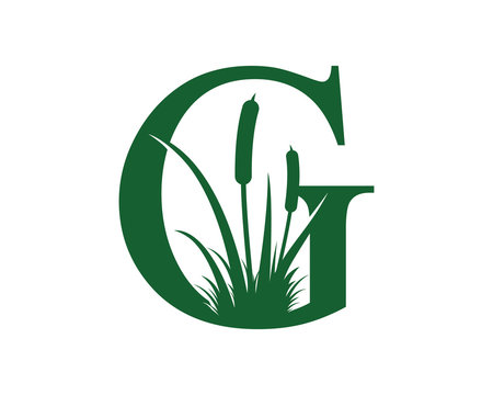 Letter G with Reeds Grass Logo Vector 001