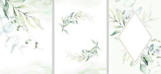 Pre made templates collection, frame, wreath - cards with green leaf branches. Wedding ornament concept. Floral poster, invite. Decorative greeting card, invitation design background, birthday party.