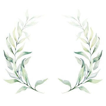 Watercolor floral illustration - green leaves and branches wreath / frame, for wedding stationary, greetings, wallpapers, fashion, background. Eucalyptus, olive, green leaves, etc.