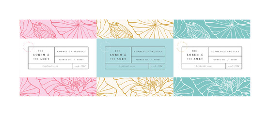 Vector set pattens for cosmetics with label template design. Patterns or wrapping paper for package and beauty salons. Lotus flowers. Organic, natural cosmetic. Fotobehang
