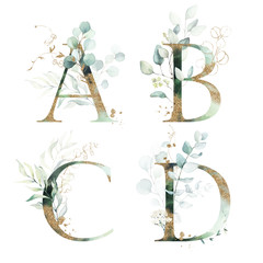 Gold Green Floral Alphabet Set - letters  A, B, C, D with green leaves, botanic branch bouquet composition. Unique collection for wedding invites decoration and many other concept ideas.