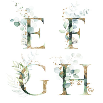 Gold Green Floral Alphabet Set - letters  E, F, G, H with green leaves, botanic branch bouquet composition. Unique collection for wedding invites decoration and many other concept ideas.