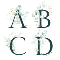 Obraz Dark Green Floral Alphabet Set - letters A, B, C, D with green leaves, botanic branch bouquet composition. Unique collection for wedding invites decoration and many other concept ideas. - fototapety do salonu