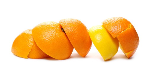 Orange and lemon half peels isolated on white background