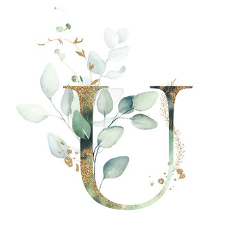 Gold Floral Alphabet - letter U with gold and green botanic branch leaf bouquet composition. Unique collection for wedding invites decoration & other concept ideas.