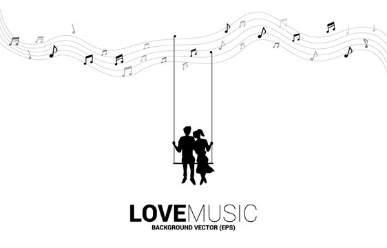 Lover couple sitting together on swing from music note. concept for love and romantic music