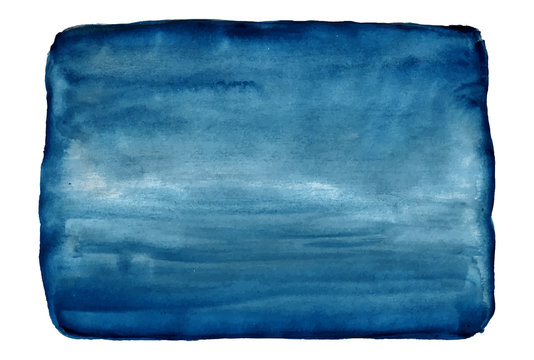 Blue Watercolor Vector Background. Rectangle Stain Isolated on White.
