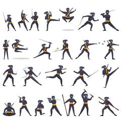 Ninja icons set. Cartoon set of ninja vector icons for web design