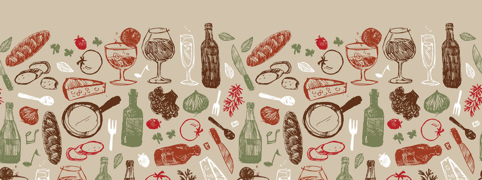 Vector light brown bar italia sketch illustration horizontal border pattern with bottles, wine glasses, bread, tomatoes and cheese. Perfect for fabric, restaurant menu and wallpaper projects.