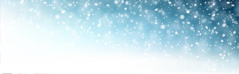 Türaufkleber Pool Winter blue horizontal background with white defocused snowflakes.