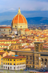 Florence, Italy aerial view of historical medieval buildings with Duomo Santa Maria Del Fiore dome in old town