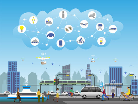 Public transport with 5G technology. Traffic lights and street lights connected by with IoT for smart functions. Drones for fast deliveries. Electrified vehicles, buses, ferries, trains and bicycles.