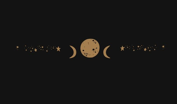 The moon phases vector silhouette with stars. Magic and witchcraft vintage tattoo. Symbol of femine, eternity