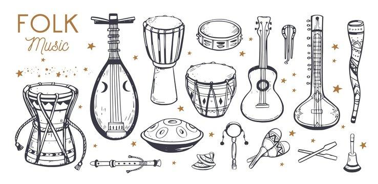 Ethnic, folk music festival vector poster, background. Different music traditional folk instruments. handwritten Lettering