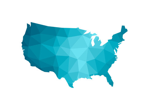 Vector illustration with simplified blue silhouette of United States of America (USA) map. Polygonal geometric style, triangular shapes. White background