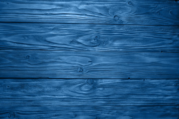Old blue vintage wood texture background. Trendy color 2020 - classic blue