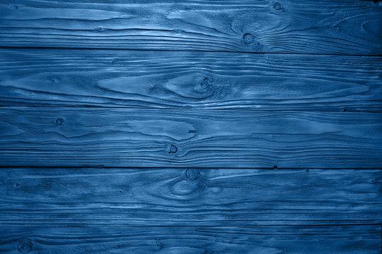 Old blue vintage wood texture background. Trendy color 2020 - classic blue