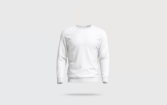 Blank white casual sweatshirt mock up, gray background