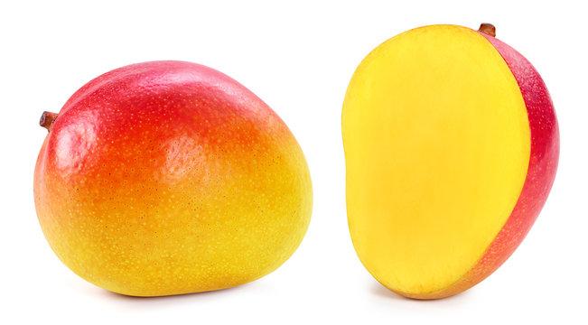 Mango isolated on white. Ripe fresh mango half Clipping Path