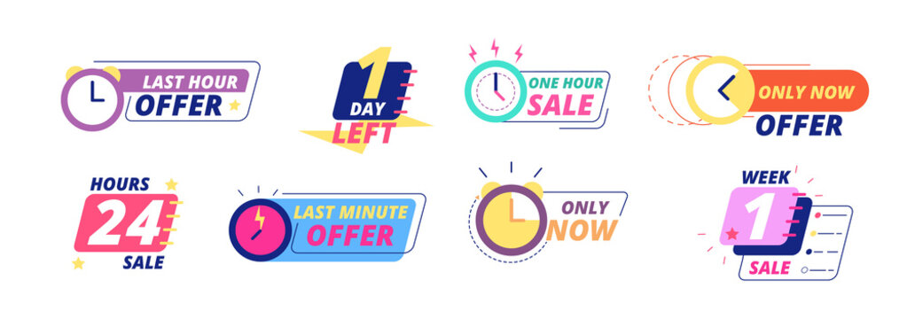 Sale countdown badges. Last day, hour and minute offer labels with clock icons. Big deal limited sale announcement stickers vector set. Countdown badge, special illustration, day minute illustration