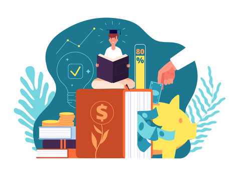 Investments in knowledge. Invest in education e-learning, student loans. Financing of creative projects, web page presentation, vector concept. Illustration education school investment