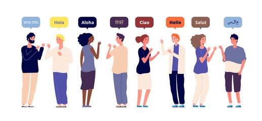 Fototapeta Greeting in native languages. International multiracial friends speech hello. Foreign language, women men greet each other vector concept. Illustration native language speech hello obraz