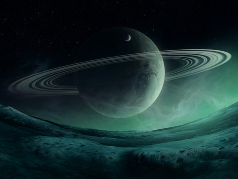 fantasy space landscape, planet with rings on alien landscape night sky, 3d illustration