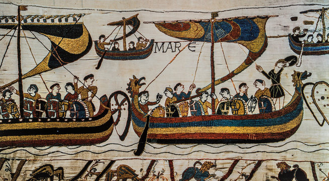Norman expeditionary ships depicted in 1027 at Bayeux Tapestry