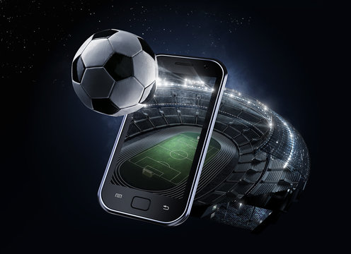 Sport Backgrounds. #d rendered Soccer stadium. View from mobile phone. Soccer ball before the star sky. Isolated on black.