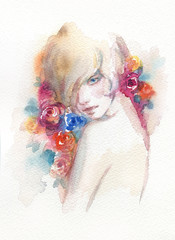 abstract woman portrait. fashion illustration. watercolor painting