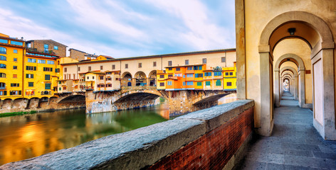 Ponte Vecchio bridge and riverside promenade in Florence, Italy