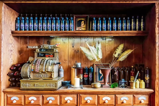 RIGA, LATVIA - JUNE 10, 2017: Riga black balsam is a traditional Latvian herbal liqueur, a cafe where for decades they have been traded and produced