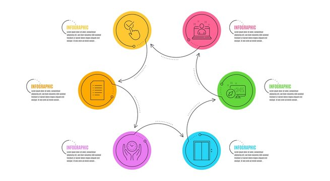 Web system, Best manager and Document signs. Infographic timeline. Checkbox, Lift and Safe time line icons set. Approved, Elevator, Management. Computer. Technology set. Line checkbox icon. Vector