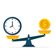 Vector watches and money are on scales. The concept of weighing time and money to find a balance.