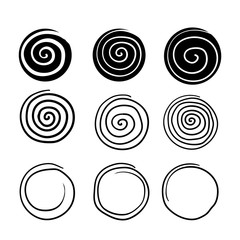 collection of spiral illustration with hand drawn doodle line art style isolated on white background
